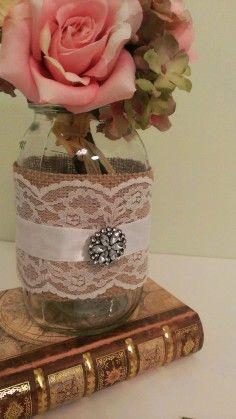 rustic centerpiece for burlap wedding, lace wedding mason jar centerpiece, vintage wedding burlap decorations, barn wedding glass decor ideas
