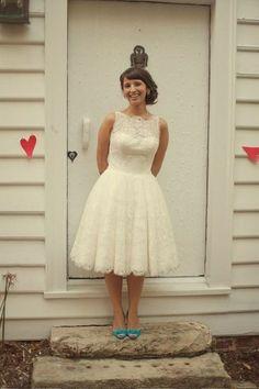 Bridal Bliss Designs #Etsy lace tea length retro style wedding dress media-cache5.pint... www.tappocity.com makeitbeautiful Tappocity.com beautiful weddings