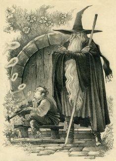 Gandalf The Grey (later White) and Bilbo Baggins🙃 Jrr Tolkien, Gandalf, Legolas, Hobbit Art, The Hobbit, Gollum Hobbit, Fantasy Wizard, Fantasy Art, Book Illustration