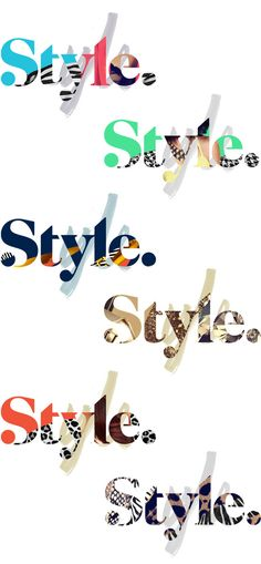 Style logos that I created- here's what i like- including textures/ patterns within the type itself