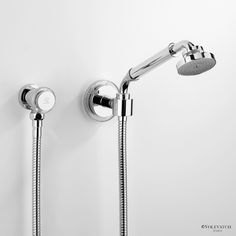 Volevatch Grand Hotel wall mounted hand shower on hook. www.waterleau.eu Grand Hotel, Modern Bathroom, Wall Mount, Door Handles, Shower, Self, Door Knobs, Rain Shower Heads, Funky Bathroom