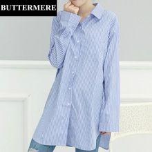 BUTTERMERE Marca Ropa Tallas grandes Mujer Camisas Azul A Rayas de Moda de Corea de Manga Larga Para Mujer Superior Blusas 4XL 5XL Blusas(China)