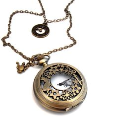 March Hare Clock Necklace, Antique Bronze, Steampunk Pocket Watch... ($22) ❤ liked on Polyvore featuring jewelry, necklaces, accessories, steampunk, watches, charm necklace, charm locket necklace, chain necklaces, steampunk pocket watches and pocket watch