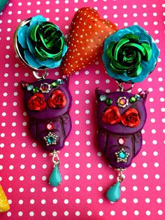 Purple Sugar Skull Owl with Metal Roses Turquoise  Owls with Swarovski Crystals Rhinestone Pin Up Girl Earrings on Etsy, $55.00