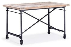 Zuo Presidio Heights Reclaimed Wood Desk, Black Metal and Fir Wood rustic-desks-and-hutches
