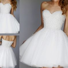 White pearls homecoming dresses sweetheart short prom dress party gown graduation dresses - Thumbnail 3