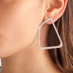 Indochine Earrings Shiny White Gold | Ekria | Wolf & Badger