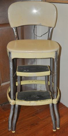 Authentic Vintage Kitchen Bar Chair and Step Stool by Cosco Chrome and Yellow & YES! My kitchen chair/stool! I think Iu0027d rather do each piece a ... islam-shia.org