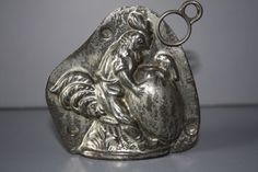 ANTIQUE METAL CHOCOLATE MOLD -   ROOSTER, EGG and BABY RABBIT