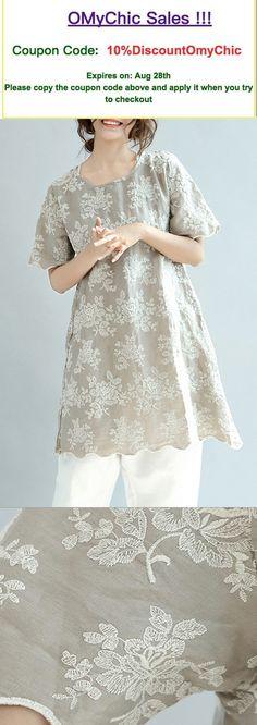 khaki casual linen tops sundress o neck t shirt dress