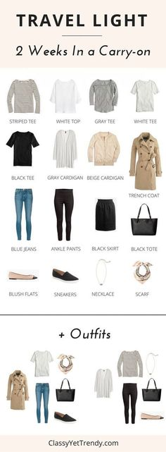 Travel Light - 2 Weeks In a Carry-on suitcase. Find out how to pack the least amount of clothes and shoes for 2 weeks of outfits, all in a carry-on suitcase! Just a few tops, tees, cardigan, trench coat, jeans, skirt, flats and sneakers from your closet capsule wardrobe will make several outfits when you go on a trip or flight on vacation.