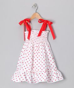 Take a look at this White Polka Dot Smocked Dress - Infant, Toddler & Girls by De n' L on #zulily today!