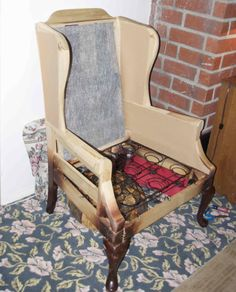 How To Reupholster A Wingback Chair On Pinterest