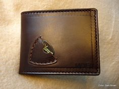 Personalized Handmade Men's Genuine Leather Guitar Pick/ Billfold Wallet **With or Without Name or Initials** by texascustomcrafts on Etsy https://www.etsy.com/listing/169358280/personalized-handmade-mens-genuine