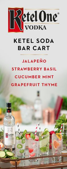 Treat your guests to an unexpected treat by putting a twist to a classic Ketel One® cocktail. Perfect for easy entertainment, simply take 1.5 oz Ketel One® Vodka, 4 oz. soda water, and a hint of delicious flavor. Try some of our favorites—cucumber mint, grapefruit thyme, strawberry basil or jalapeno. Serve in your favorite glass, and cheers to great times with friends!
