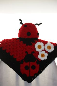 Crochet Baby Blanket with Matching Hat (Lady Bug). $28.00, via Etsy.