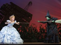 Alyssa Fox (Elphaba) and Carrie St. Louis (Glinda) in the national tour of 'Wicked.' Photo by Joan Marcus.