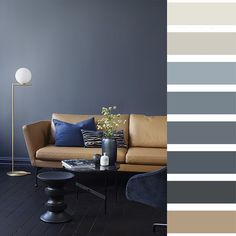 Bilderesultat for LADY Pure Color 4629 Skyggeblå Grey Walls Living Room, Living Room Color Schemes, Modern Color Schemes, Blue Decor, Interior Design Inspiration, Wall Colors, Bedroom Wall Colors, Home Decor, Colorful Interiors
