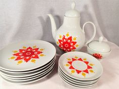 Winterling Schwartzenbach Bavaria China Tea Set pieces Retro Red/Orange/Yellow Geometric Design Teapot, lunch plates, saucers, covered sugar by MyRetroRecollections on Etsy