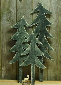 Wooden Wall Art Forest Silhouette Cabin by CastawaysHall.