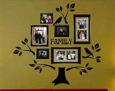 I can paint this on the wall instead--either above the coach or the dining room wall--but you can buy the Vinyl Wall Lettering Decal Graphic Large Family Tree Kit with Branches Leaves Birds Family Tree Decal, Tree Decals, Family Wall, Wall Decals, Family Room, Big Family, Wall Décor, Wall Art, Wall Sticker