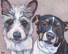 Russell and Dipper the Mixed Breed Dogs by Bethany.