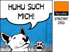 Kunstverstecke Bulli No.2 Bullterrier Illustration von bg-color auf DaWanda.com mit eigenem Text, frei wählbar! Ab 9,80 €