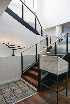 Joanna Laajisto Creative Studio | Michel; restaurant, stair, marble, steel, glass, timber