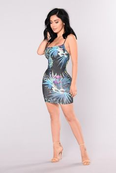 Celia Tropical Dress - Black