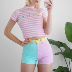 fc21ce6dbff5 RARE AMERICAN APPAREL COLOR BLOCK SHORTS 💗💗💗 pastel pink, - Depop Yellow  Turquoise