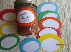 Oval Canning Jar Stickers-Mason Jar Labels- Scallop Oval Colored Stickers-Colorful Canning Stickers
