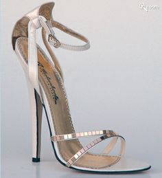 Marissa   Extreme 150mm spiked heel sandal with shaped ankle strap, Made with champagne kidskin leather, mirror decor, real leather insole lining and genuine leather sole. Entirely hand-made using highest quality leather and natural fabric by master Italian shoemakers.