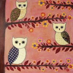 Owl Collage Art Painting Mixed Media by Sascalia