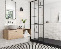 Beautiful Home Interior tradycyjna-lazienka-bialo-czarne-kafle-moonlight-paradyz.Beautiful Home Interior tradycyjna-lazienka-bialo-czarne-kafle-moonlight-paradyz Bathroom Design Small, Bathroom Interior Design, Modern Bathroom, Small Bathrooms, Interior Modern, Brick Bathroom, Bathroom Renos, Bathroom Renovations, Bathroom Wall