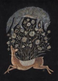 """swan-bones:  Delicate Deer Gouache on paper, 14"""" x 20"""" 2014"""