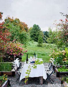 """""""We love the idea of the weekend country-house party in the European style, where everyone sits around the farmhouse table having long, leisurely meals, eating food made from the garden, and drinking interesting and honest wine."""" Outdoor Room Design Ideas - House Beautiful"""