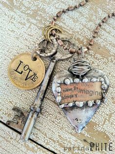 "Charmed necklace:  skeleton key, old parking token, & metal heart ~  ""Imagine New Things"" by Beth Schaleben"