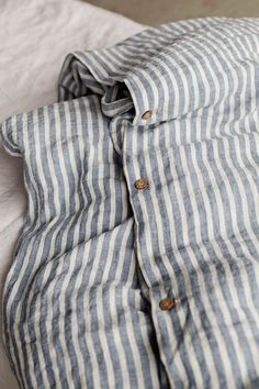 Linen duvet cover set with 2 pillowcases. King / Queen duvet sizes - Pure linen duvet cover with off white and blue nautical stripes. Well known for its breathability a - Luxury Duvet Covers, Luxury Bedding Sets, Linen Duvet, Bed Linen Sets, Linen Fabric, Striped Bedding, Striped Linen, Black Bedding, Bed Sets