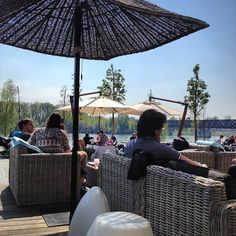 Danube river bank by EUROVEA - one of the most pleasant place to enjoy a beautiful spring/summer day in Bratislava (by holubson)
