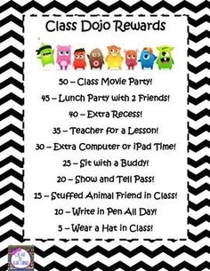 Class Dojo Rewards I like the idea of a whole class award if they reach a goal! Behavior Management System, Classroom Behavior Management, Student Behavior, Classroom Organisation, Behavior Plans, Behavior Charts, Class Management, Behavior Board, 2nd Grade Classroom