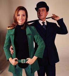 """Patrick Macnee as John Steed and Diana Rigg as Emma Peel in """"The Avengers"""" (1965 - 1967)"""
