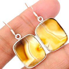 Montana Agate 925 Sterling Silver Earrings Jewelry MTAE85 - JJDesignerJewelry