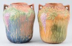 Peruse this slideshow to help you identify and value your Roseville Pottery pieces. Includes popular, more common patterns along with rarities.: Roseville Wisteria Vases