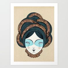 The long hair girl Art Print by Elena Mir | Society6