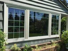 Fibrex Combination Picture and Casement windows with Colonial and Fractional Grilles replace old aluminum windows and show off the front of this home in Ridgecrest.