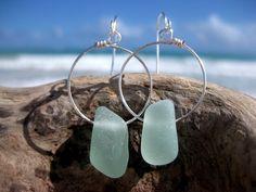 Hawaiian Thick Aqua Beach Glass on Silver Plated Circular Wire Small Hoop Earrings by LindseysBeachGlass, $36.00