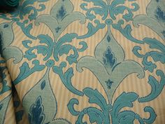 """Light Gold and Blue Damask For Upholstery 60"""" 1 Yard Fabric by the Yard"""