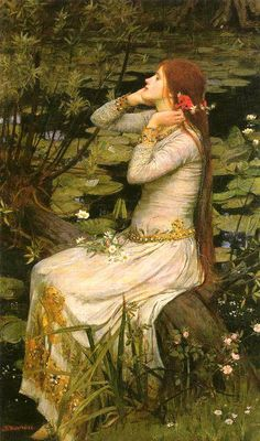 Ophelia from Shakespeare's Hamlet by Pre- Raphaelite artist John William Waterhouse Counted Cross Stitch Chart Pattern. John William Waterhouse, was an English painter known for working in the Pre-Raphaelite style. John William Waterhouse, John William Godward, Art And Illustration, Pre Raphaelite Paintings, John Everett Millais, Dante Gabriel Rossetti, Classical Art, Art Plastique, Oeuvre D'art