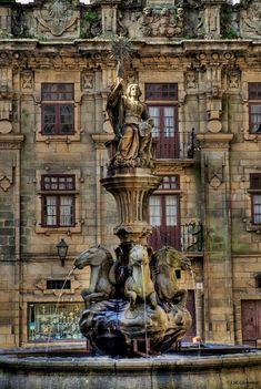 Fountain of the Horses on Plaza de Las Platerías in Santiago de Compostela - Galicia, Spain