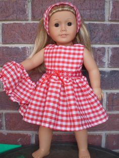 """18"""" Doll Clothes American Girl or bitty baby Red Gingham dress outift. $11.99, via Etsy."""